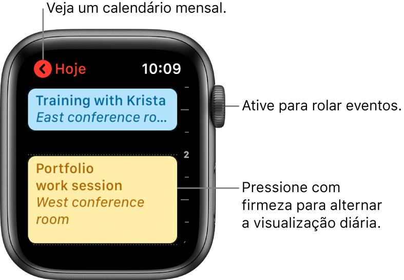 Tela do Calendário mostrando uma lista de eventos do dia.