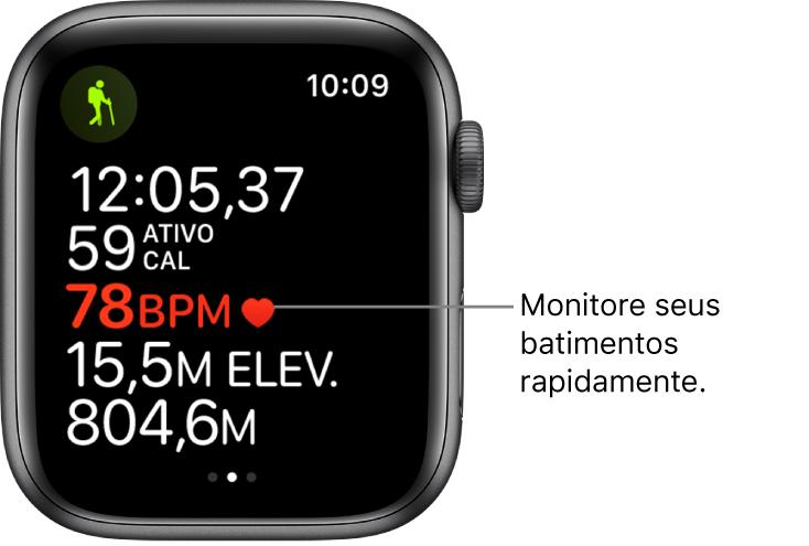 """Tela mostrando estatísticas de exercícios, incluindo o tempo decorrido e batimentos. Na chamada, lê-se """"Monitore seus batimentos rapidamente""""."""