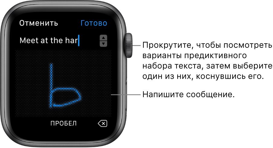 Экран для написания письма от руки. Варианты предиктивного текста появляются вверху, а текст сообщения вводится в центре.