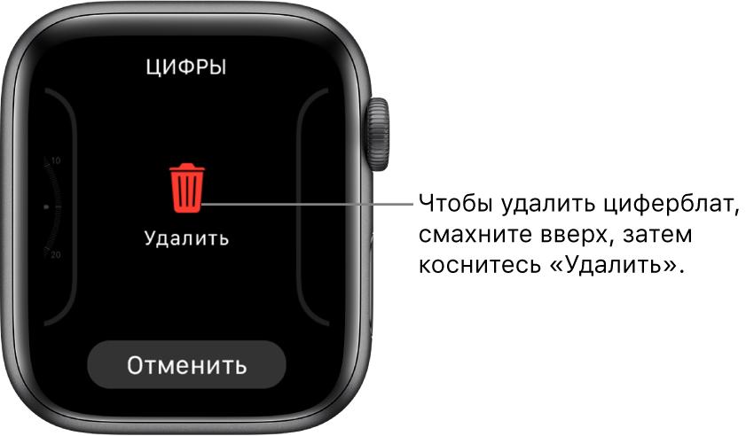Экран AppleWatch с кнопками «Удалить» и «Отменить»: они отображаются, когда Вы смахиваете к циферблату, а затем смахиваете вверх для его удаления.