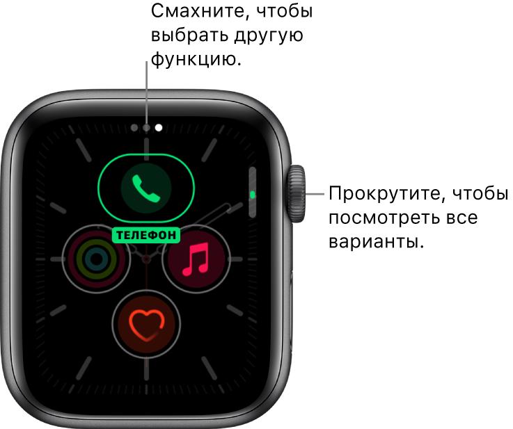 Экран настройки циферблата «Меридиан» с выделенным расширением «Телефон». Прокрутите колесико DigitalCrown, чтобы изменить параметры.