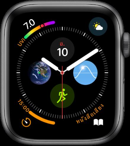 หน้าปัดนาฬิกาอินโฟกราฟที่แสดงกลไกหน้าปัดในแต่ละมุมและวงแหวนขนาดย่อตรงกลาง