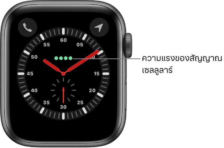หน้าปัดนาฬิกานักสำรวจเป็นนาฬิกาแบบอนาล็อก เหนือจุดกึ่งกลางของหน้าปัดนาฬิกาคือจุดสีเขียวสี่จุดซึ่งระบุความแรงของสัญญาณเซลลูลาร์