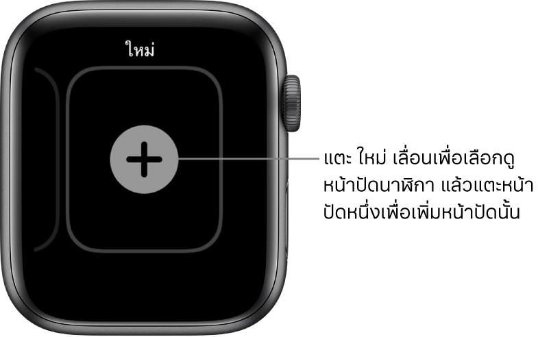 หน้าจอหน้าปัดนาฬิกาใหม่ พร้อมปุ่มบวกตรงกลาง แตะเพื่อเพิ่มหน้าจอหน้าปัดนาฬิกาใหม่