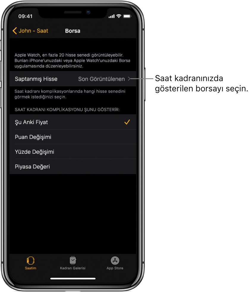 iPhone'daki AppleWatch uygulamasının, Son İzlenen'e ayarlanmış olan saptanmış hisse senedinizi seçme seçeneklerini gösteren Borsa ayarları ekranı.