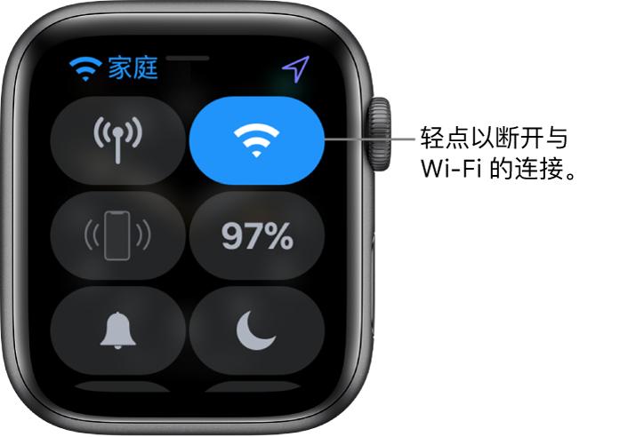 """AppleWatch (GPS + 蜂窝网络) 上的""""控制中心"""",Wi-Fi 按钮位于右上方。标注为""""轻点以断开与 Wi-Fi 的连接""""。"""