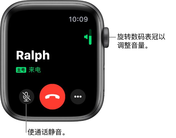 """在来电期间,屏幕的右上方显示水平的音量指示条,左下方显示""""静音""""按钮、红色的""""拒绝""""按钮和""""更多选项""""按钮。"""