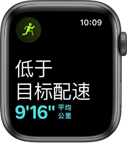 """""""体能训练""""屏幕,显示您的跑步速度落后于目标配速。"""