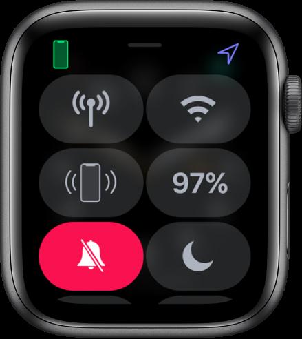 """静音模式按钮已选定的""""控制中心""""。"""