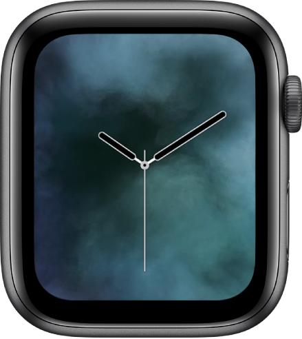 「煙霧」錶面中央顯示指針時鐘,周圍環繞煙霧。