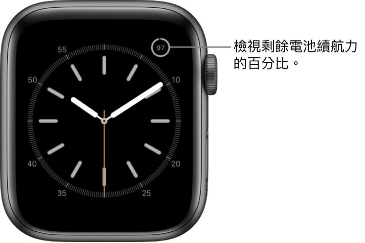 錶面右上角顯示電池百分比功能。