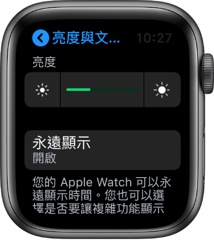 Apple Watch 螢幕,在「亮度與文字大小」畫面上顯示「永遠顯示」按鈕。