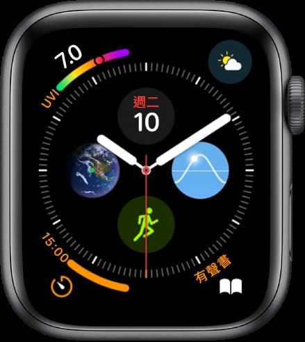 「圖文」錶面的每個角落複雜功能,中央是四個子刻度盤。
