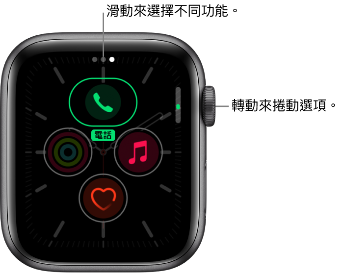 「子午線」錶面的自訂畫面,醒目標示「電話」複雜功能。轉動數位錶冠來更改選項。