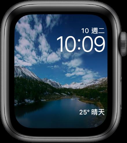 「縮時攝影」錶面會顯示各地風景的縮時影片。底部是「天氣」複雜功能。