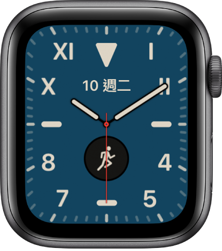 「加州」錶面,顯示羅馬數字和阿拉伯數字混合。顯示兩個複雜功能:「日期」和「體能訓練」。