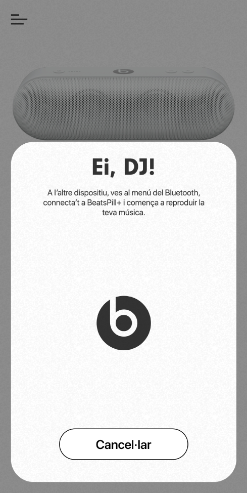 Mode DJ de l'app Beats que està esperant que es connecti el segon dispositiu