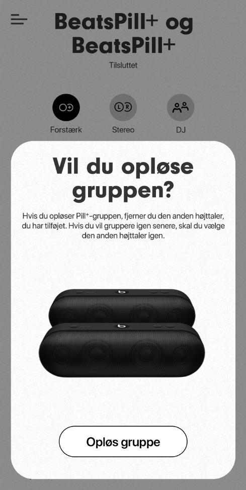 Beats-appen med kortet Opløs gruppe