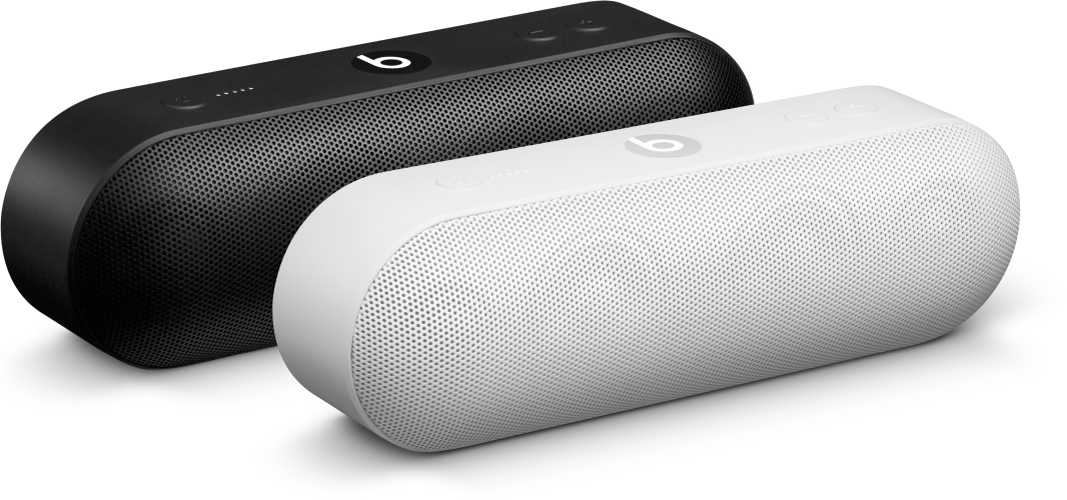 A black speaker and a white speaker in an Amplify group