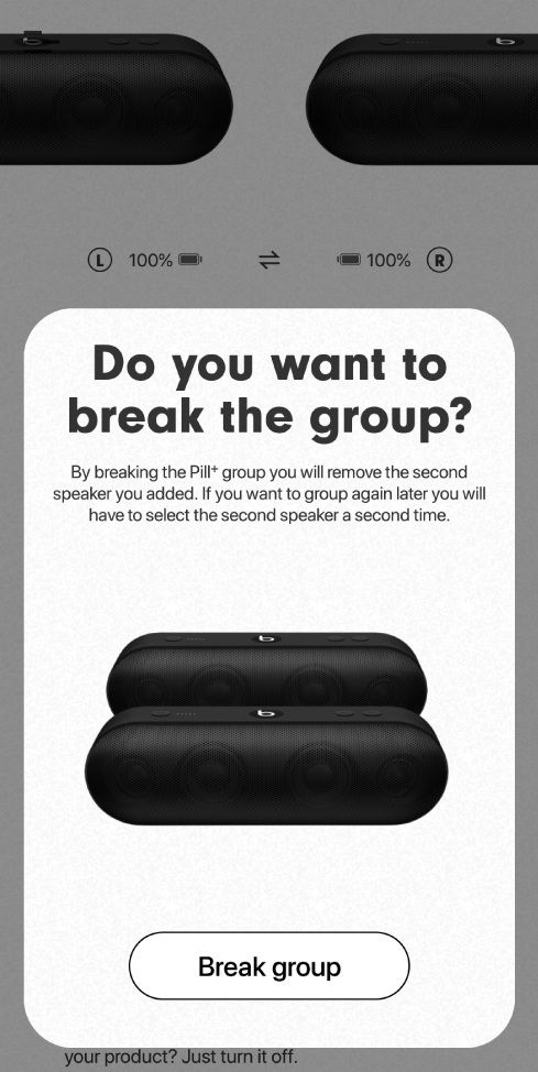 Beats app showing Break group card