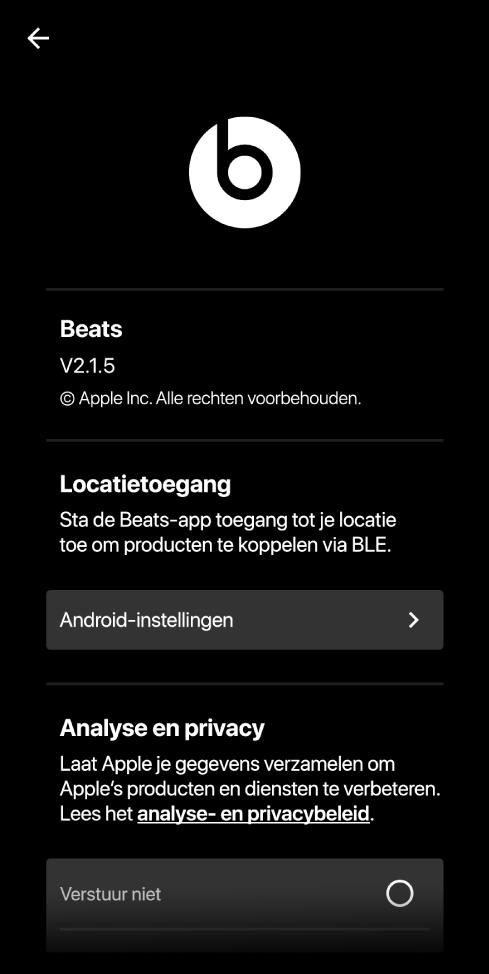 De instellingen van de Beats-app met de versie van de Beats-app, instellingen voor locatietoegang en analyse- en privacy-instellingen