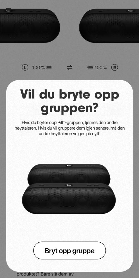 Beats-appen viser kortet «Bryt opp gruppe»
