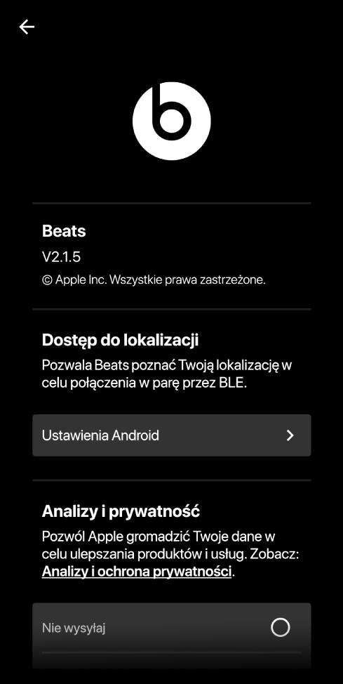 Ustawienia aplikacji Beats, zawierające wersję aplikacji, ustawienia dotyczące lokalizacji oraz ustawienia związane zanalizami iprywatnością