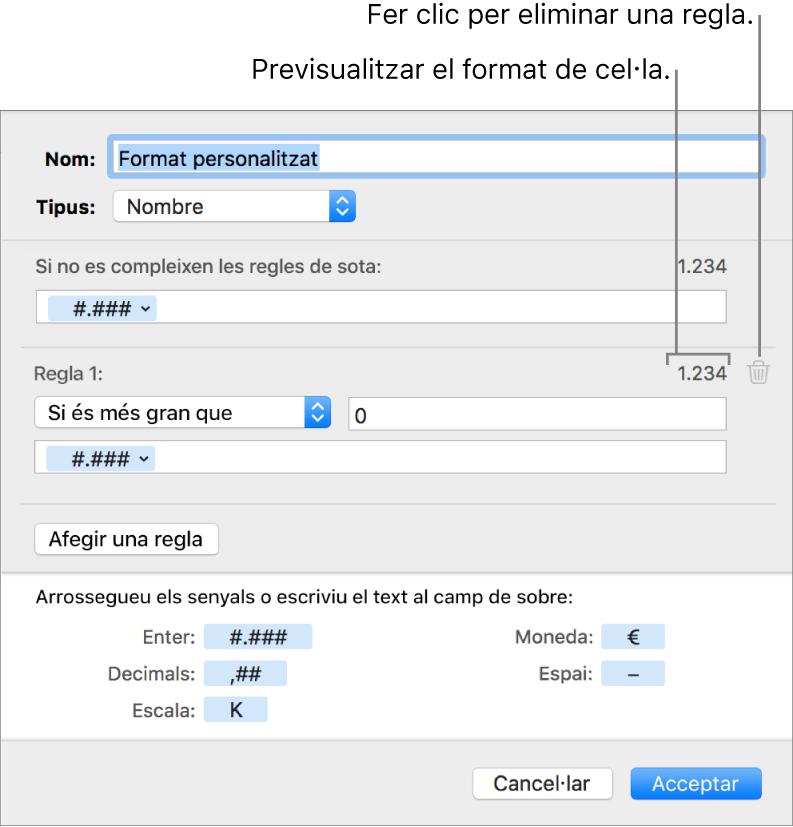 Format personalitzat de cel·la numèrica amb regles.