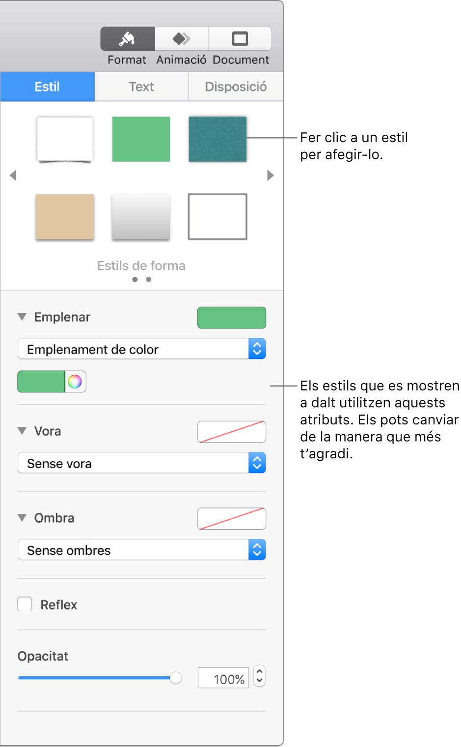 Estils i opcions per a les formes a la secció Format de la barra lateral.