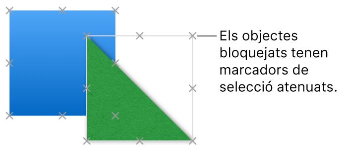 Objectes bloquejats, amb els marcadors de selecció atenuats.