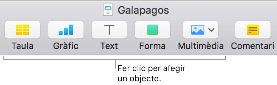 Barra d'eines del Keynote que mostra els botons usats per afegir un objecte a una diapositiva.