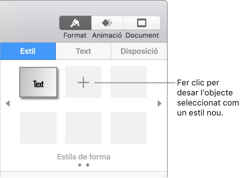 """Pestanya Estil de la barra lateral Format amb un estil de quadre de text, un botó """"Crear un estil"""" a la seva dreta i quatre marcadors de posició d'estil buits."""
