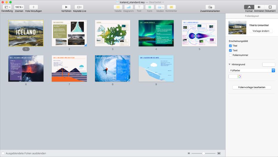 """Leuchttischdarstellung mit neun horizontal angeordneten Folien in zwei Reihen und Optionen zum Ändern der Themendarstellung in der Seitenleiste """"Format"""" am rechten Bildschirmrand."""