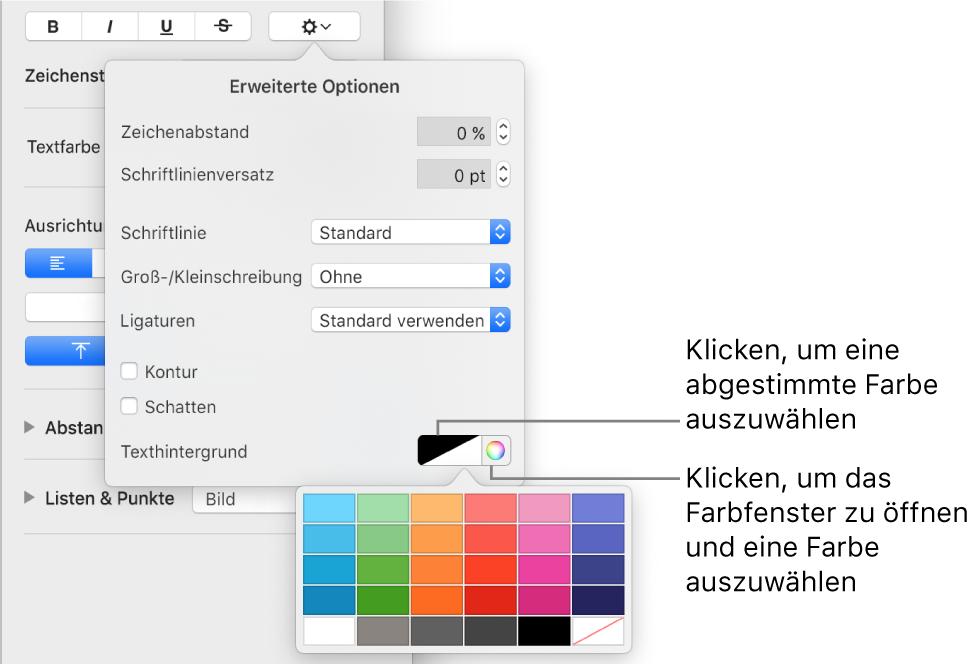 Steuerelemente zur Auswahl einer Hintergrundfarbe für Text.
