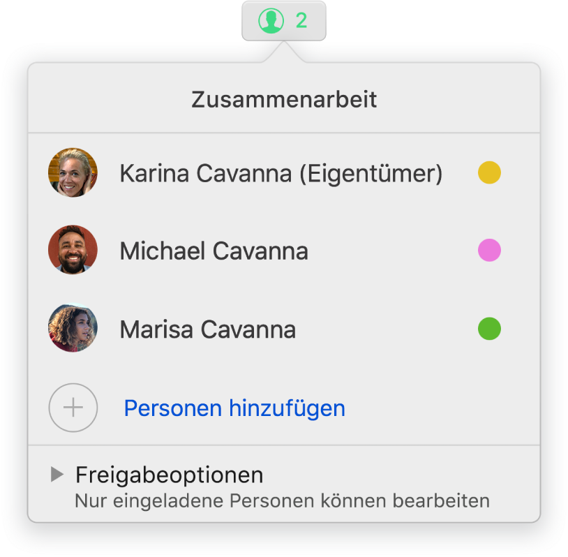 Das Menü für die Zusammenarbeit mit den Namen von Personen, die gemeinsam eine Präsentation bearbeiten. Optionen zum Teilen befinden sich unter den Namen.