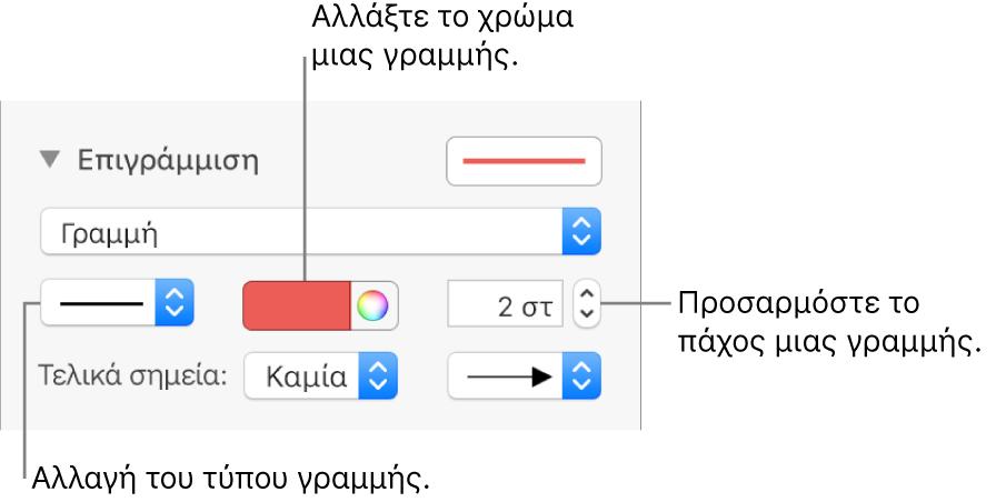 Τα χειριστήρια περιγράμμισης για τον ορισμό τελικών σημείων, πάχους γραμμής και χρώματος.