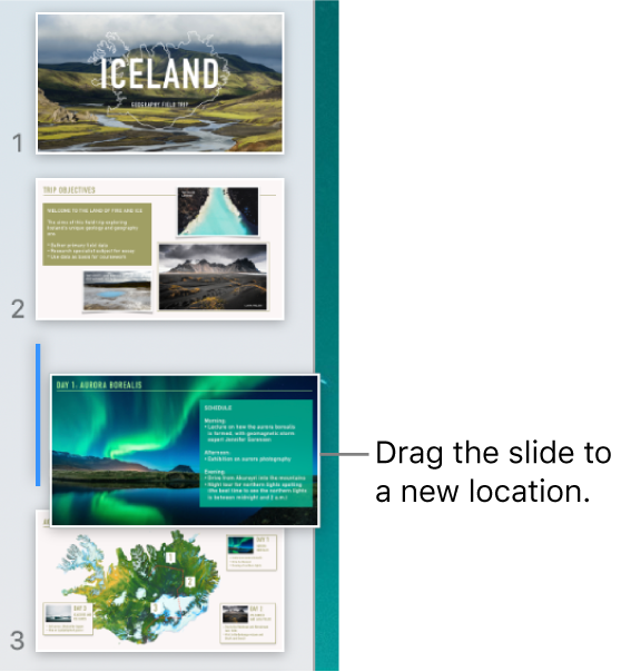 The slide navigator showing a reordered slide thumbnail with a line on the left.
