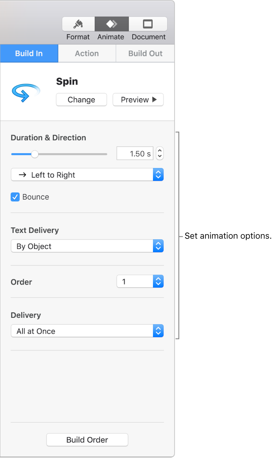 Build-in options in the Animate section of the sidebar.