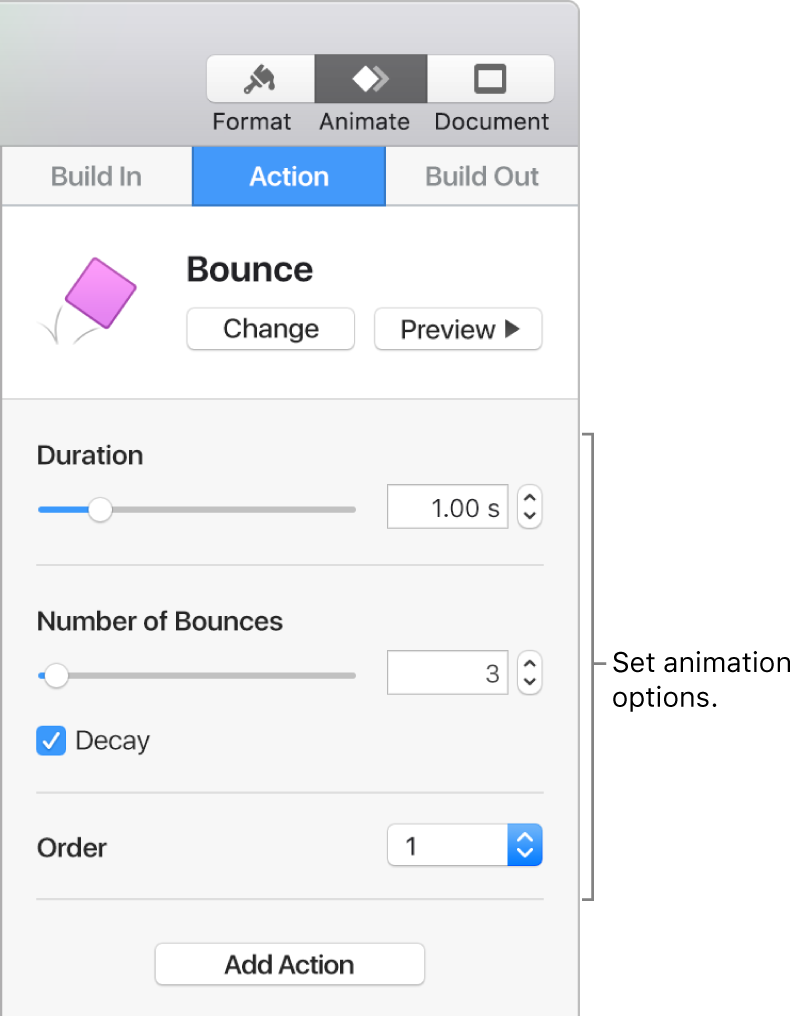 Action controls in the Animate section of the sidebar.
