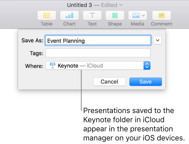 The Save dialog for a presentation with Keynote—iCloud in the Where pop-up menu.
