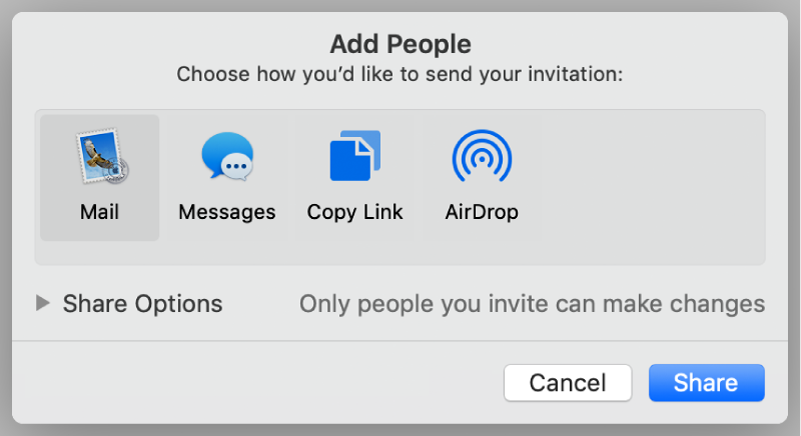 The collaboration settings window with a Share button at the bottom.