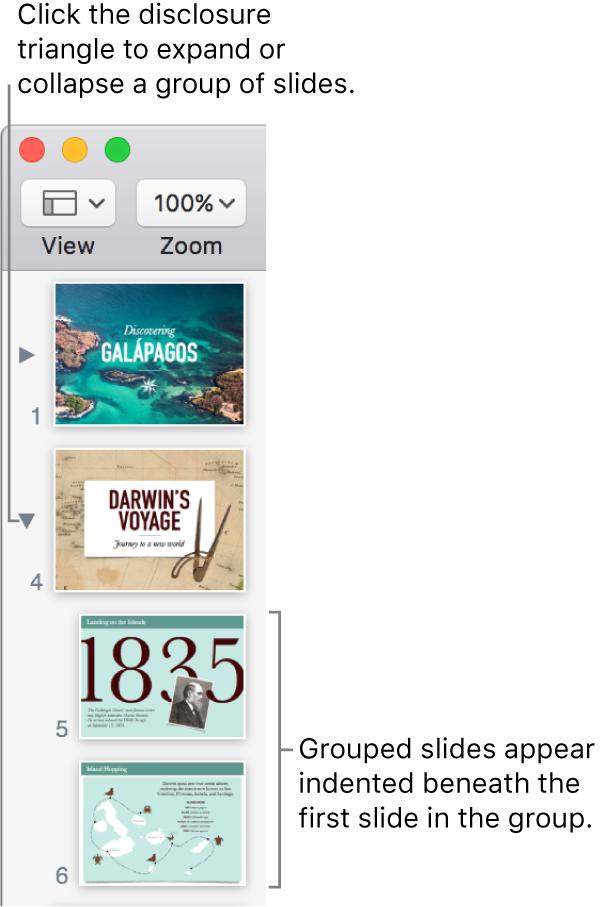 The slide navigator showing indented slides.
