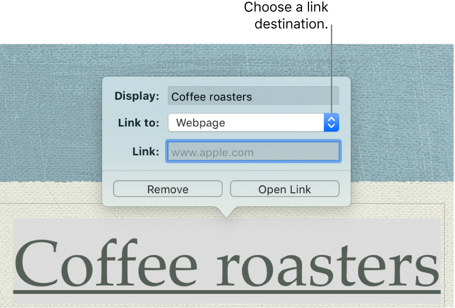 The link editor with a Display field, Link to pop-up menu (Webpage is selected), and Link field. The Remove and Open Link buttons are at the bottom of the pop-over.