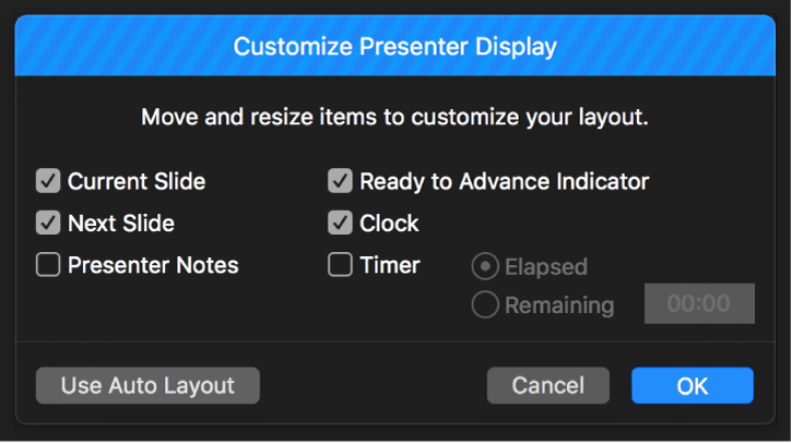 Customize Presenter Display dialog.