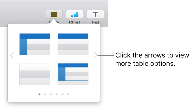 The Add Table pane with navigation arrows on the left and right.