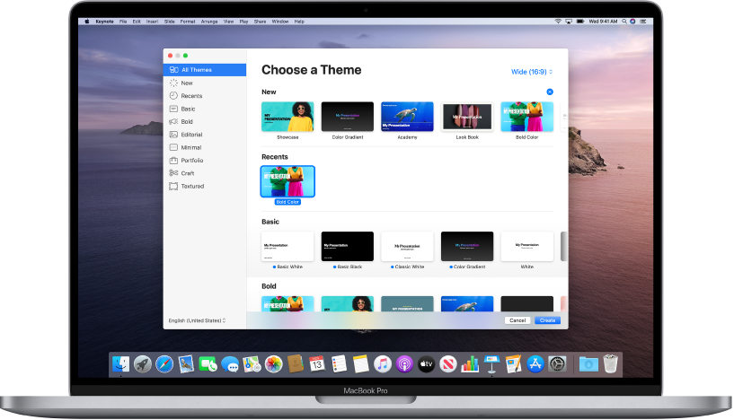 A MacBook Pro with the Keynote theme chooser open on the screen. The All Themes category is selected on the left and predesigned themes appear on the right in rows by category. The Language and Region pop-up menu is in the bottom-left corner and the Standard and Wide pop-up menu is in the top-right corner.