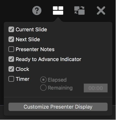 The presenter display options, including Current Slide, Next Slide, Presenter Notes, Ready to Advance Indicator, Clock, and Timer. The timer has additional options to show either the time elapsed or the time remaining.