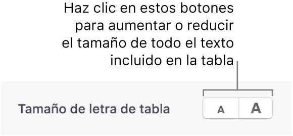 Controles de la barra lateral para cambiar el tamaño de letra de la tabla.