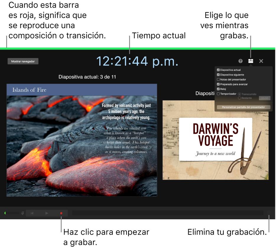 Captura de pantalla del modo de grabación de video en la pantalla del presentador. Están visibles la diapositiva actual y siguiente, la hora actual y los controles de visualización del presentador. El control para iniciar y detener la grabación y el control para eliminar la grabación aparecen cerca de la parte inferior de la pantalla.