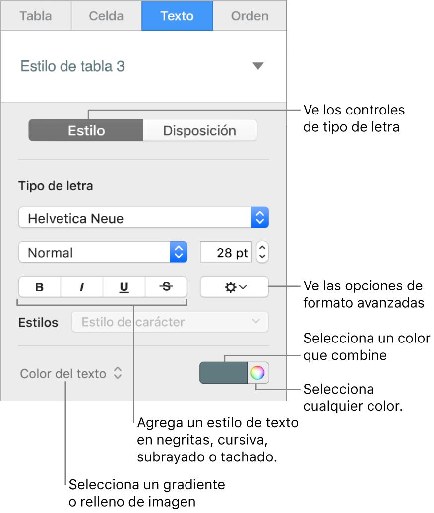 Los controles para aplicar un estilo a texto de la tabla.